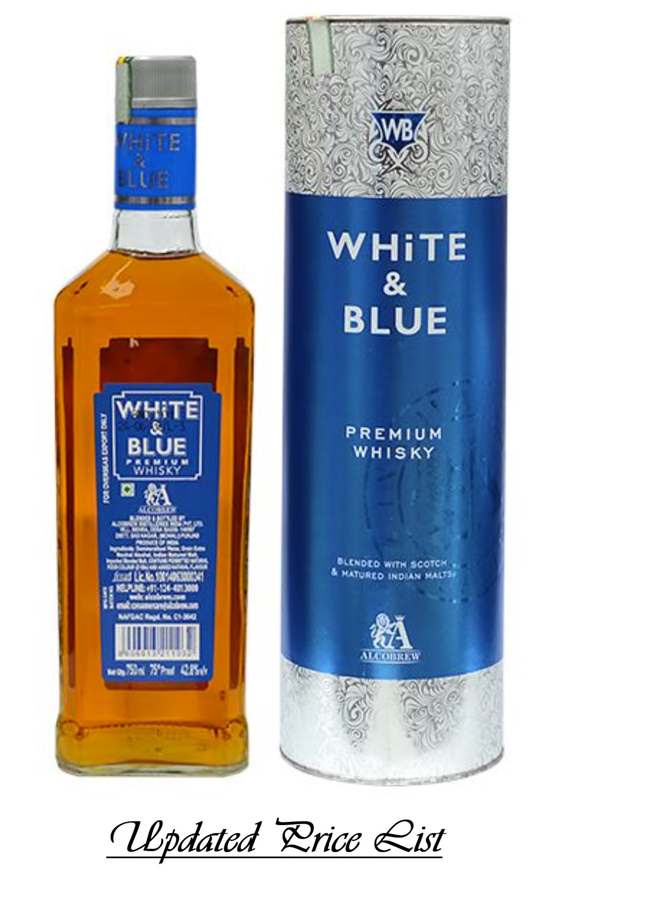 White and blue whisky price